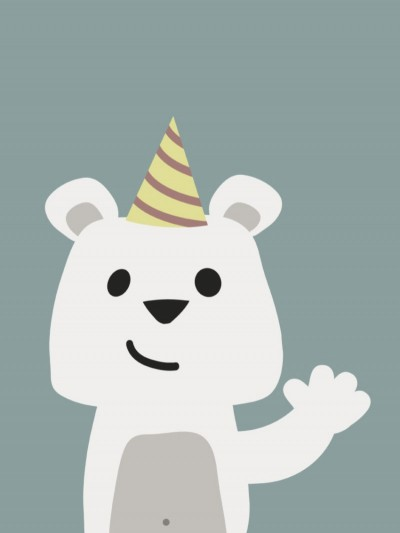 Plakat - Festlig bjørn der vinker