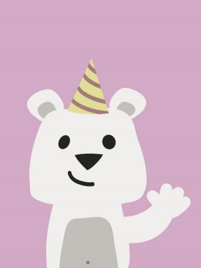 Plakat - Festlig bjørn der vinker - Lyserød