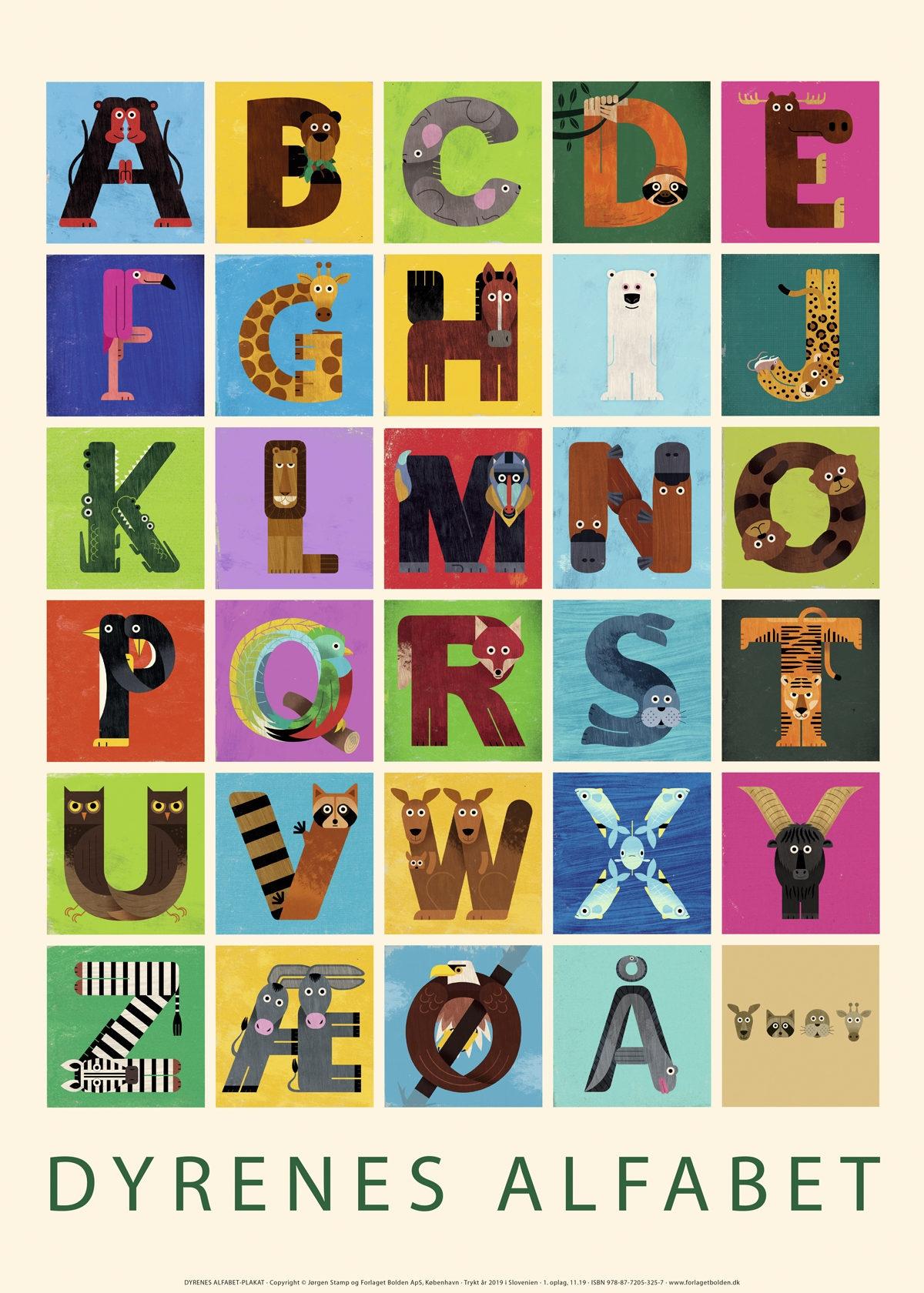 Dyrenes alfabet-plakat