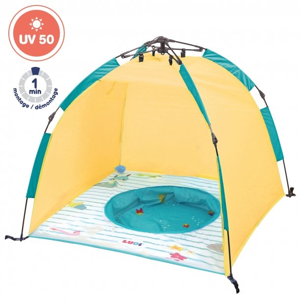 Legetelt med UV beskyttelse og bassin